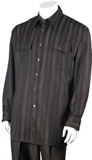 Mens Walking Suit 2761-BR ( 2pc, Solid Pant, Print )