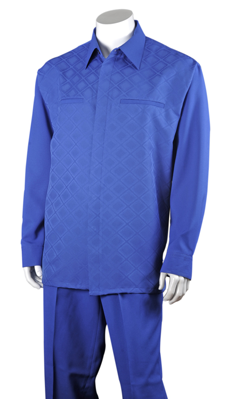 Mens Walking Suit 2762-BLU ( 2pc, Solid Pant, Checker Shirt )