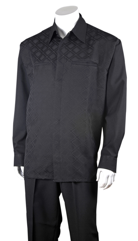 Mens Walking Suit 2762-BLK ( 2pc, Solid Pant, Checker Shirt )
