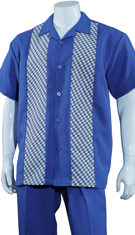 Mens Walking Suit M2968-BL ( 2pc Solid Pant With Checkered Shirt )