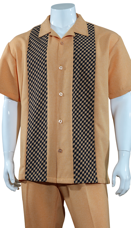 Mens Walking Suit M2968-R ( 2pc Solid Pant With Checkered Shirt )