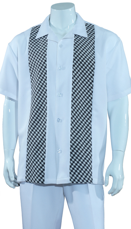 Mens Walking Suit M2968-W ( 2pc Solid Pant With Checkered Shirt )
