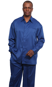 Mens Walking Suit 2752-NY ( 2pc Shadow Stripe, Breast Pocket, Long Sleeve Shirt And Pant )
