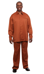 Mens Walking Suit 2752-RU ( 2pc Shadow Stripe, Breast Pocket, Long Sleeve Shirt And Pant )
