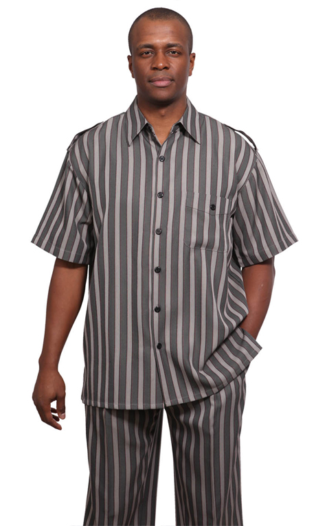 Mens Walking Suit 9686-BLK ( 2pc Wide Striped Short Sleeve Shirt And Pant For Spring )