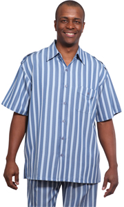 Mens Walking Suit 9686-BLU ( 2pc Wide Striped Short Sleeve Shirt And Pant For Spring )