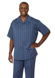 Mens Walking Suit 2945-NA ( 2pc Short Sleeve, Striped Shirt And Textured Pant )