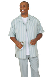 Mens Walking Suit 2945-BL ( 2pc Short Sleeve, Striped Shirt And Textured Pant )