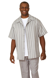 Mens Walking Suit 2945-G ( 2pc Short Sleeve, Striped Shirt And Textured Pant )