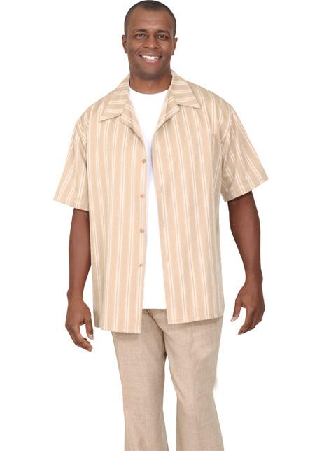 Mens Walking Suit 2945-BE ( 2pc Short Sleeve, Striped Shirt And Textured Pant )