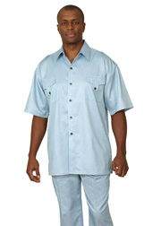 Mens Walking Suit 9445-LBL ( 2pc Double Pocket, Tab Detail, Solid Color Shirt And Pant For Spring )