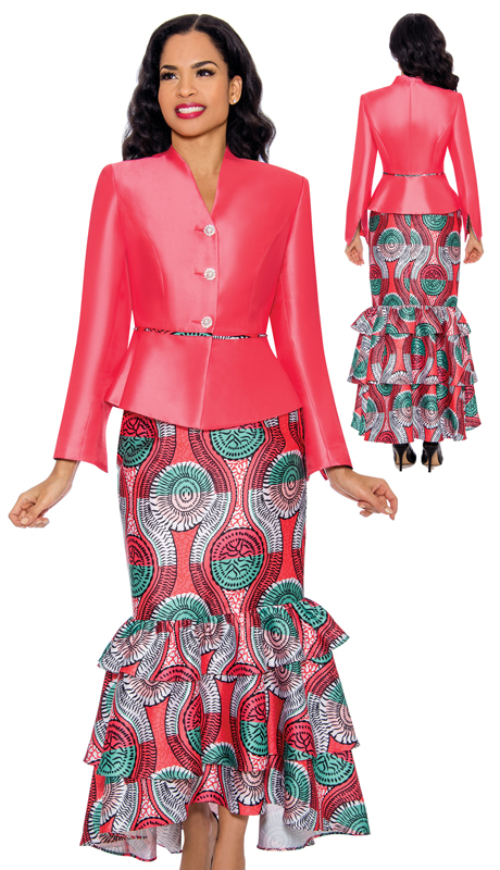 Giovanna 1092-CM ( 2pc Silk First Ladies Suit With Printed Ruffled Skirt )