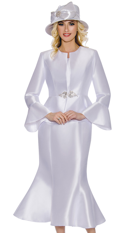 Giovanna 1086A-WH ( 3pc Silk Look Ladies Church Suit With Peplum Jacket, Flare Sleeves And Trumpet Skirt )
