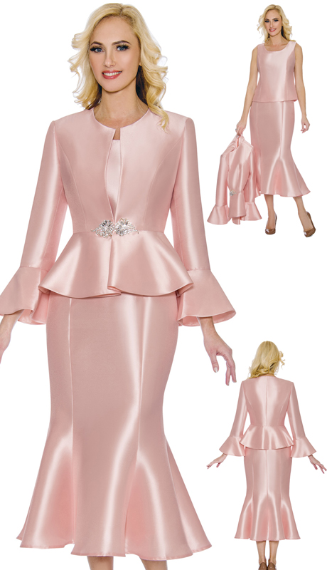 Giovanna 1086A-PI ( 3pc Silk Look Ladies Church Suit With Peplum Jacket, Flare Sleeves And Trumpet Skirt )
