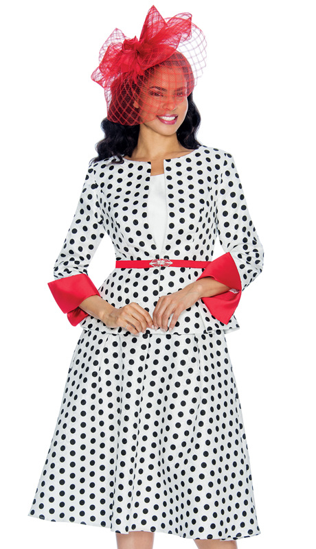 Giovanna 1082-WBR ( 3pc Novelty Polka Dot Ladies Church Suit )