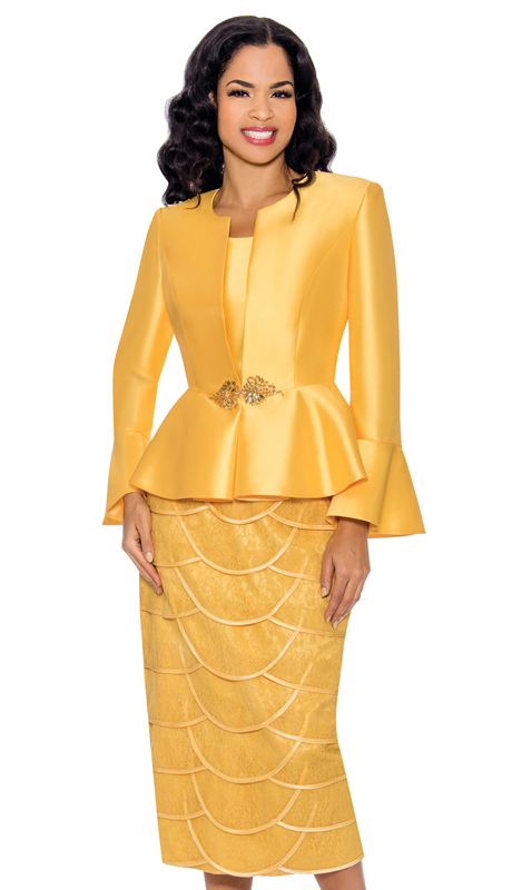 Giovanna 1060-YG ( 3pc Silk Sunday Suit With Flare Cuffs And Fancy Skirt )