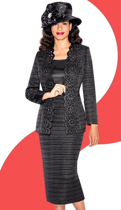 Giovanna 1001-BLK  ( 3pc Jacquard Sunday Church Suit With Cut-Ups Design On Jacket )