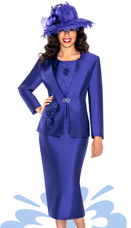 Giovanna 1003-PUR  ( 3pc Silk Look Mia Women Sunday Church Suit )