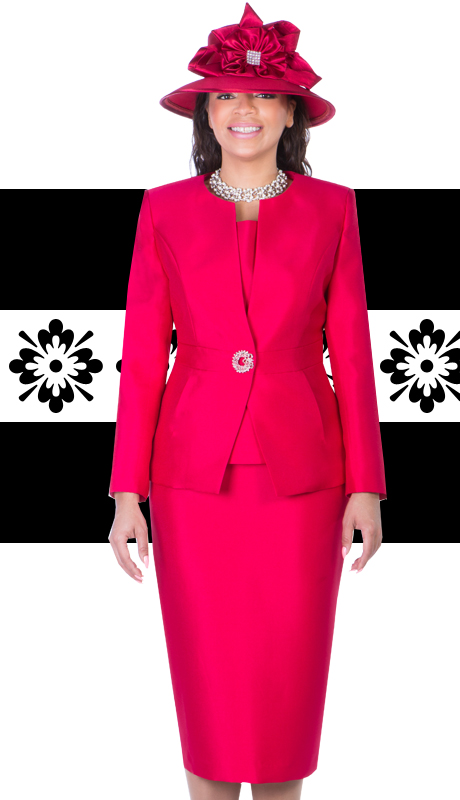 Giovanna 1026-RE-IH  ( 3pc Silk Look Mia Ladies Church Suits )