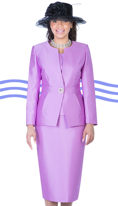 Giovanna 1026-LAV-IH ( 3pc Silk Look Mia Ladies Church Suit )
