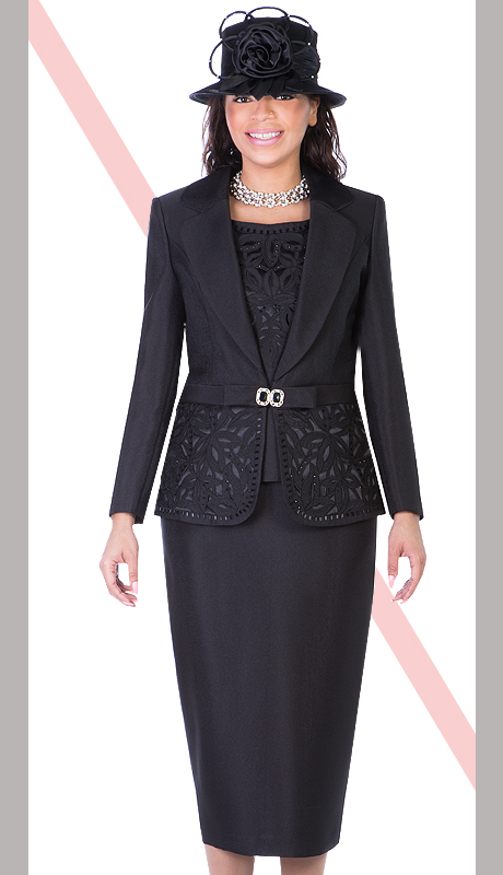 Giovanna 1007-BLK  ( 3pc Silk Look Mia Church Suit For Women )