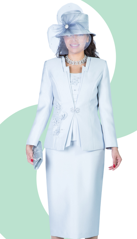 Giovanna 1003-SIL ( 3pc Silk Look Ladies Church Suit With Embroidery And Rhinestones )