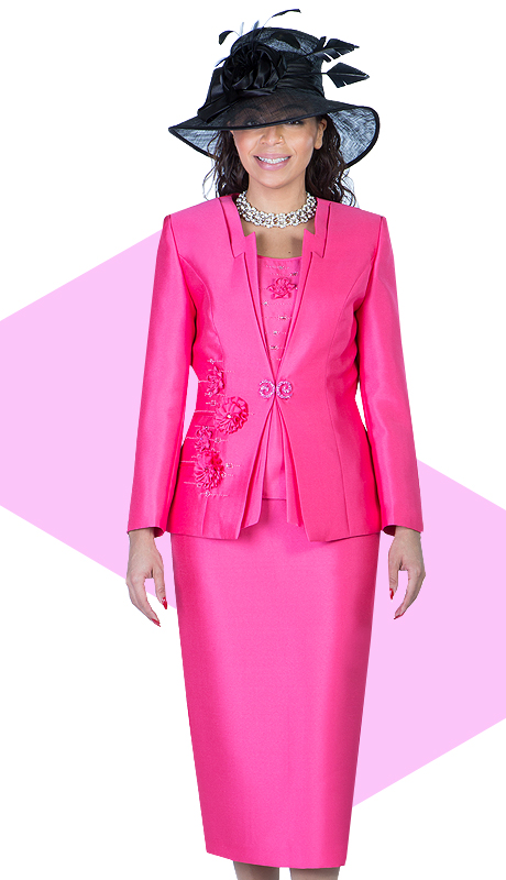Giovanna 1003-HP ( 3pc Silk Look Ladies Church Suit With Embroidery And Rhinestones )