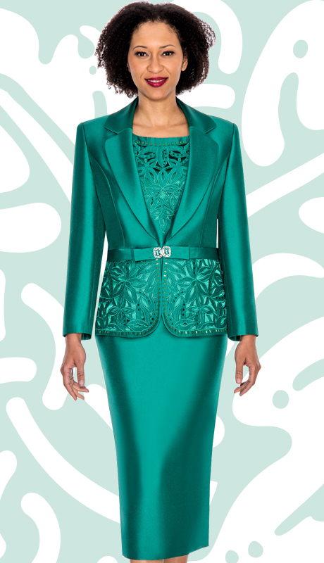 G1007-EM ( 3pc Silk Look Womens Church Suit With Ornate Cut Outs And Beading On Jacket And Cami )