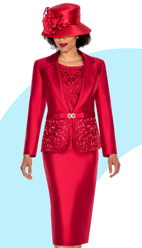 Giovanna 1007-RE ( 3pc Silk Look Womens Church Suit With Ornate Cut Outs And Beading On Jacket And Cami )