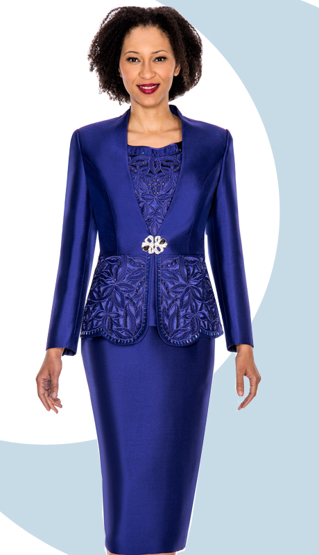 Giovanna 1018-PUR ( 3pc Silk Look Ladies Church Suit With Cut-Out Floral Design And Rhinestone Details )