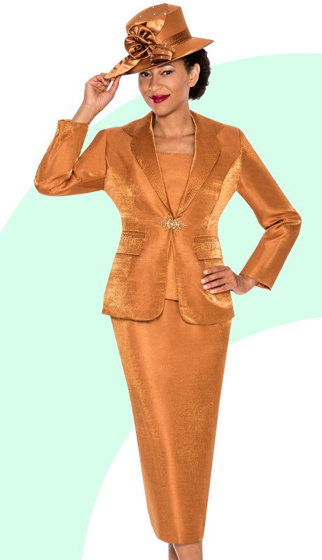 Giovanna 0874-CO ( 3pc Shimmer Shantung Mia Ladies Church Suit With Rhinestones Buckle )