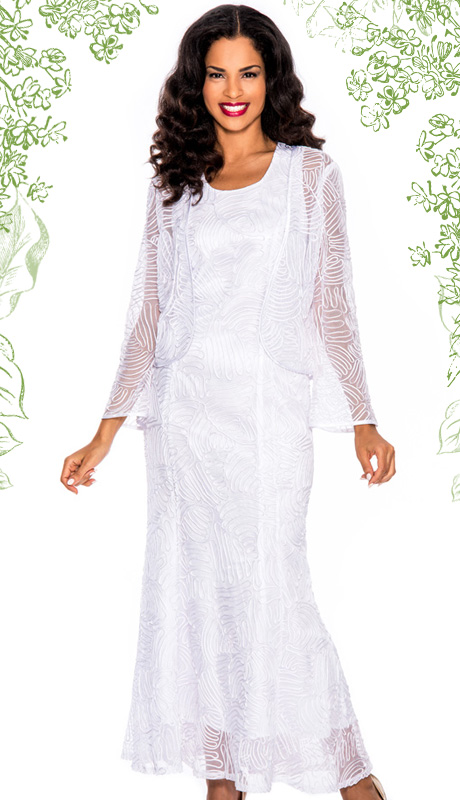Giovanna 1455-WHT  ( 2pc Womens Church Dress With Lace And Organza )