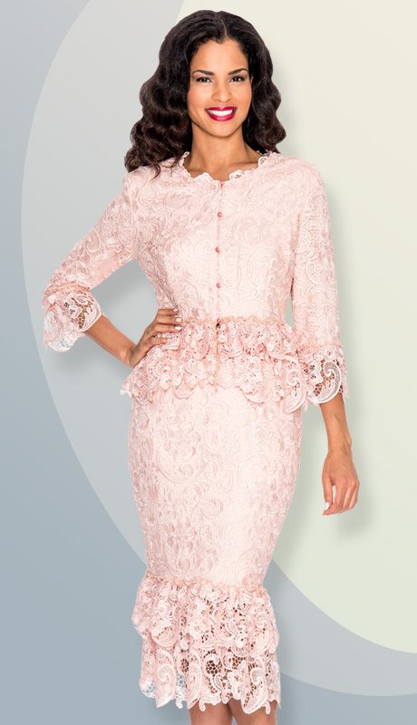 Giovanna 1453-PI ( 2pc Lace Layered Ruffle Neck-Line, Waist, Sleeve And Hem Of Skirt Suit )