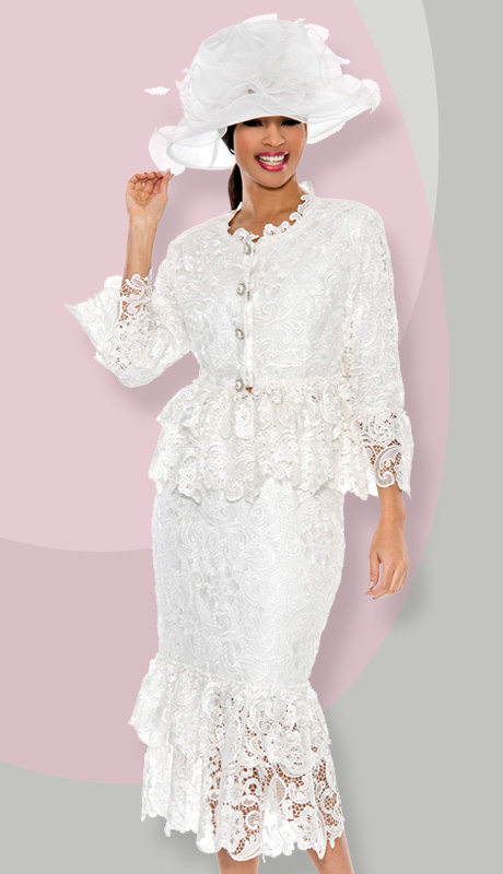 Giovanna 1453-WH ( 2pc Lace Layered Ruffle Neck-Line, Waist, Sleeve And Hem Of Skirt Suit )