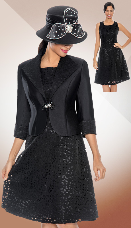 Giovanna 1463-BLK-CO ( 2pc Silk Look With Laser Cut Brocade Ladies Church Dress )