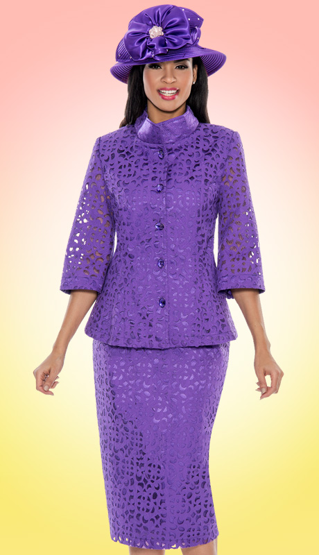 Giovanna 1040-V-227 ( 2pc Laser Cut Brocade First Lady Church Suit )