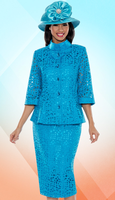 Giovanna 1040-P-227 ( 2pc Laser Cut Brocade First Lady Church Suit )
