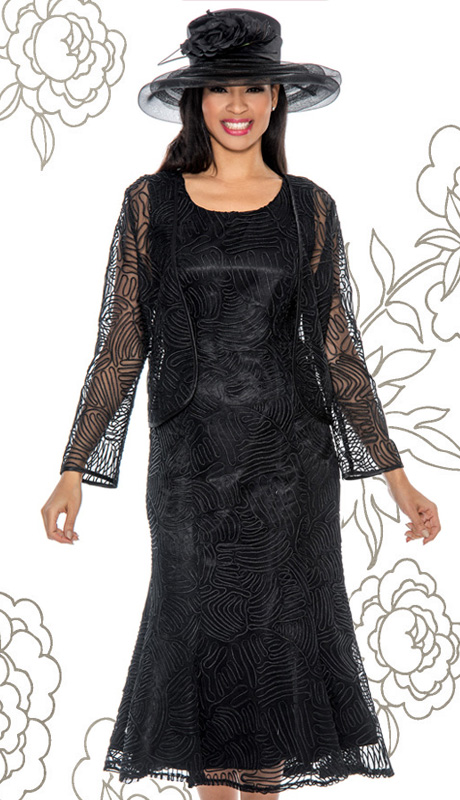 Giovanna 1455-BLK-IH ( 2pc Women Church Dress With Lace And Organza )