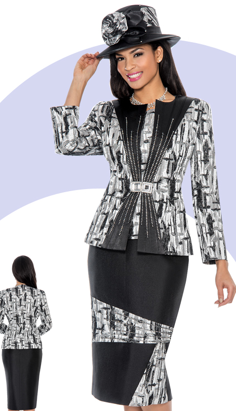 Giovanna 1032-BLK-IH ( 3pc Silk Look Women Church Suit  With Rhinestone Details )
