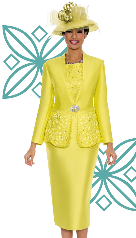 Giovanna1018-GIN ( 3pc Silk Look Ladies Church Suit With Cut-Out Floral Design And Rhinestone Details )