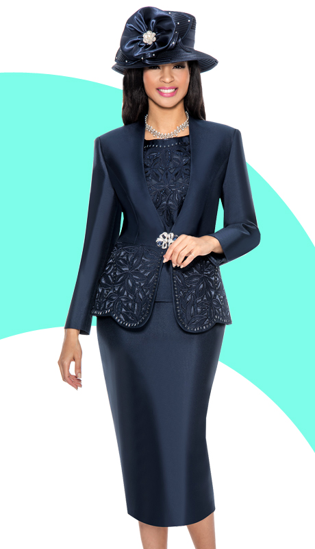 Giovanna 1018-NA ( 3pc Silk Look Ladies Church Suit With Cut-Out Floral Design And Rhinestone Details )