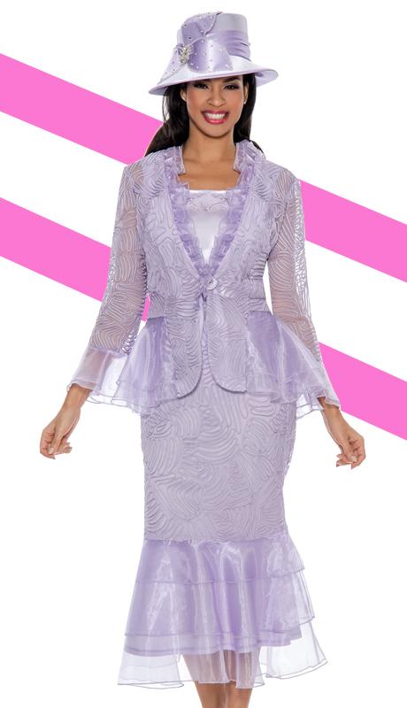 Giovanna 0875-LAV-IH  ( 3pc Organza Ladies Church Suit )