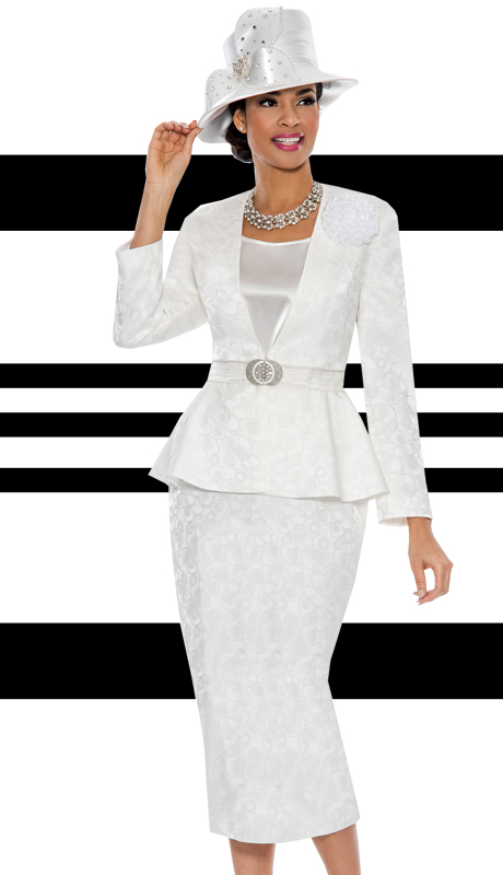 Giovanna 0879-WH ( 3pc Brocade Designer Church Suit With Peplum Jacket And Rhine Stones Buckle )