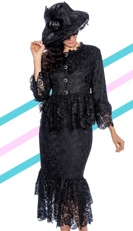 Giovanna 1453-BLK-830 ( 2pc Lace Layered Ruffle Neck-Line, Waist, Sleeve And Hem Of Skirt Suit )