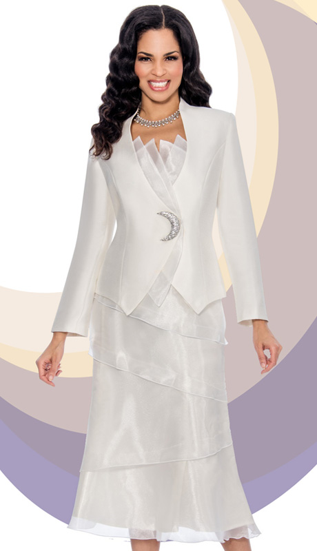 Giovanna 0877-IV  ( 2pc Silk Look Women Suit For Church With Layered Organza )