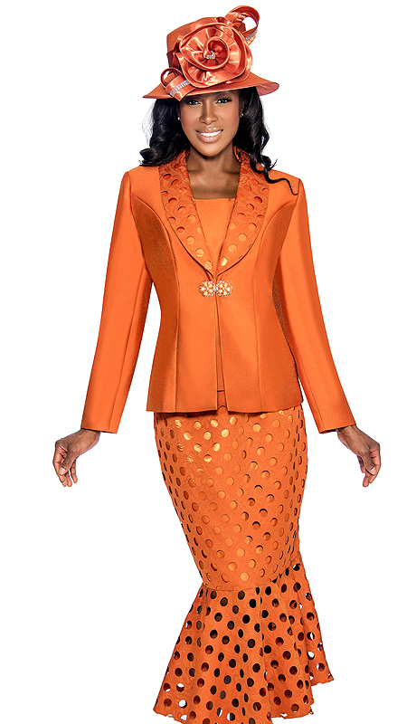 Giovanna 0895-BO ( 3pc Silk Look Ladies Church Suit With Laser Cut, Polka-Dot Pattern Lapel, Cami And Skirt )