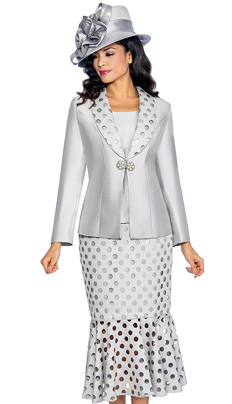 Giovanna 0895-SIL ( 3pc Silk Look Ladies Church Suit With Laser Cut, Polka-Dot Pattern Lapel, Cami And Skirt )