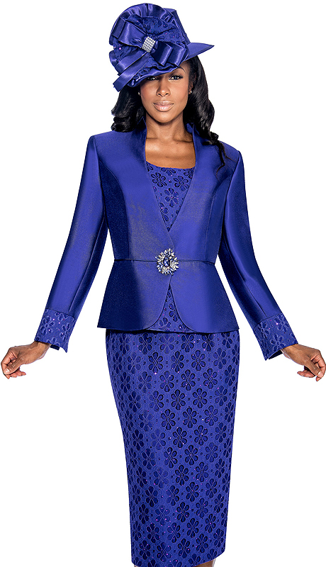 Giovanna 1046-PUR ( 3pc Silk Look With Novelty Womens Church Suit With Jacket, Large Rhinestone Buckle, And Floral Patterned Cami And Skirt )
