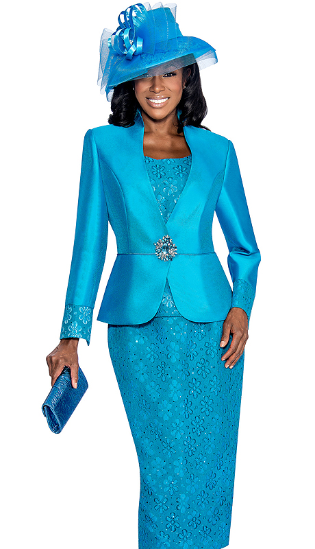 Giovanna 1046-TUR ( 3pc Silk Look With Novelty Womens Church Suit With Jacket, Large Rhinestone Buckle, And Floral Patterned Cami And Skirt )