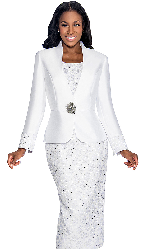 Giovanna 1046-WHT ( 3pc Silk Look With Novelty Womens Church Suit With Jacket, Large Rhinestone Buckle, And Floral Patterned Cami And Skirt )